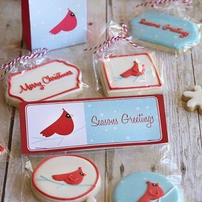 Cardinal Red Bird Christmas Printables & Cookies