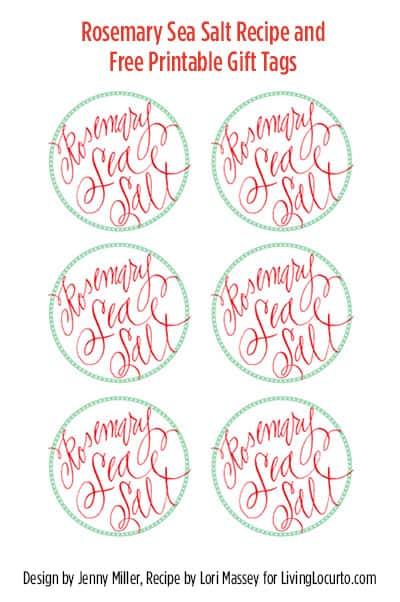 Rosemary Sea Salt Recipe with Free Printable Tags - A great DIY Gift Idea! LivingLocurto.com