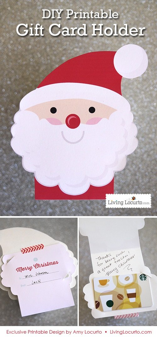 Diy printable santa gift card holder ornament spiritdancerdesigns