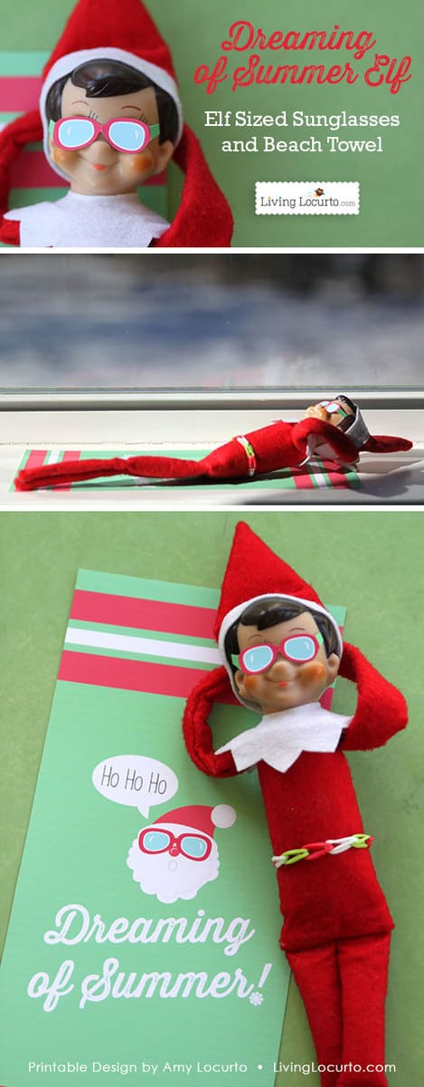 Christmas Elf Sunglasses and Santa Beach Towel. Fun paper printable idea for your Christmas elf! Kids will love this fun surprise.