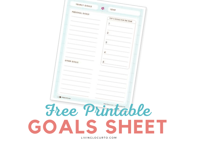 Free Printable Yearly Goals Sheet