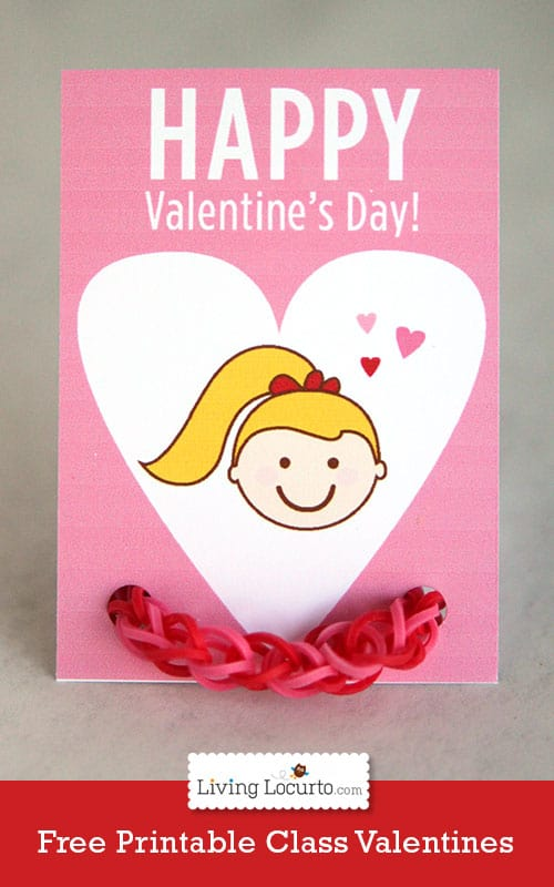 Cute Free Printable Rainbow Loom Bracelet Valentine's Day Card by LivingLocurto.com