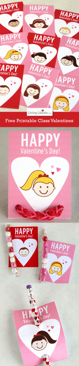 Free Printable Class Valentines for School. LivingLocurto.com
