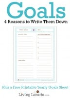 4 Reasons to Write Down Goals | Free Printable Yearly Goal Sheet