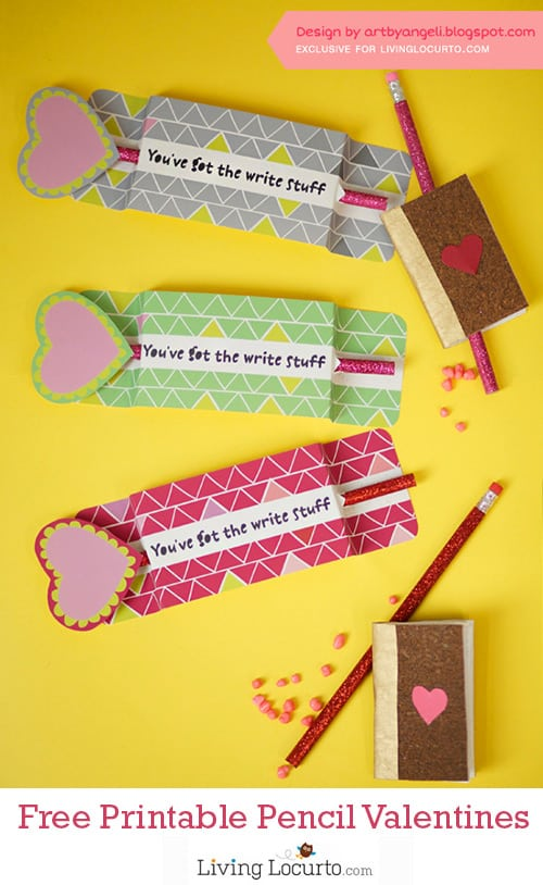 Adorable Free Printable Pencil Holder for Classroom Valentine's Day Cards. LivingLocurto.com