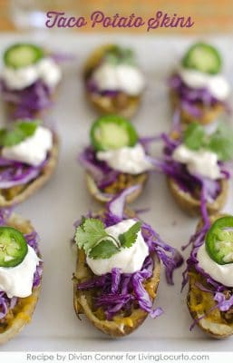 These flavorful Taco Potato Skins are an easy party appetizer recipe. Perfect game day snacks for a Super Bowl Football party.