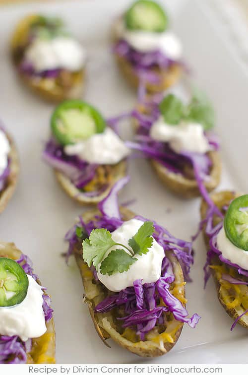 Easy Taco Potato Skins make the perfect Football Party Appetizer Recipe