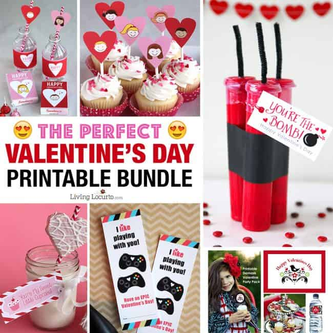 Valentine's Day Printable Bundle! Adorable Valentines Day printables for kids, the classroom and DIY gift ideas.