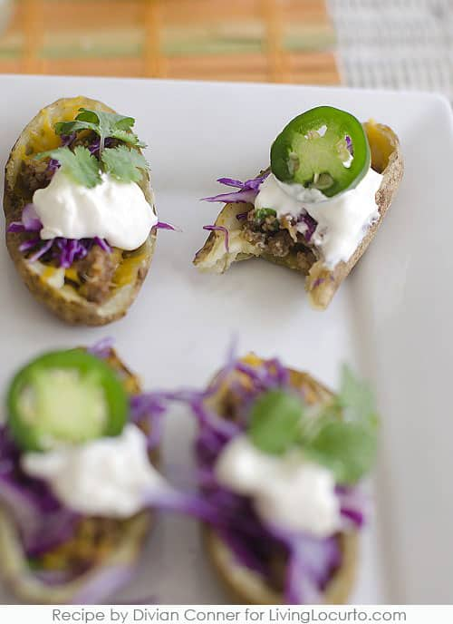Taco Potato Skins - Easy Party Appetizer Recipe by Divian Conner. LivingLocurto.com