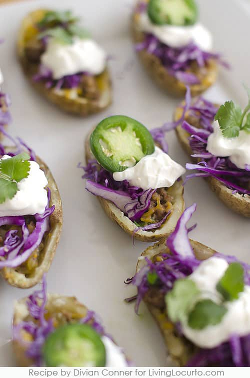 Taco Potato Skins - Easy Super Bowl Party Appetizer Recipe by Divian Conner. LivingLocurto.com