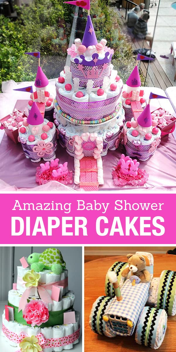 15 Creative Diaper Cakes | DIY Baby Shower Party Ideas on wine inspired party, casino inspired party, art inspired party, travel inspired party, tennis inspired party, basketball inspired party, fishing inspired party,