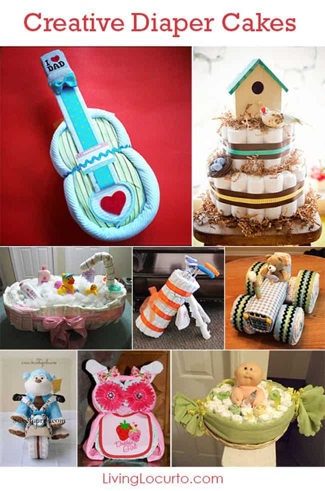 Creative Diaper Cakes! Cute DIY Baby Shower Party Ideas. Homemade crafts gifts and & 15 Creative Diaper Cakes | DIY Baby Shower Party Ideas