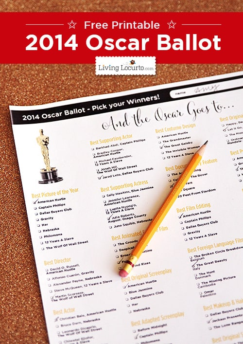 2014 Oscars Ballot ~ Free Party Printables at LivingLocurto.com