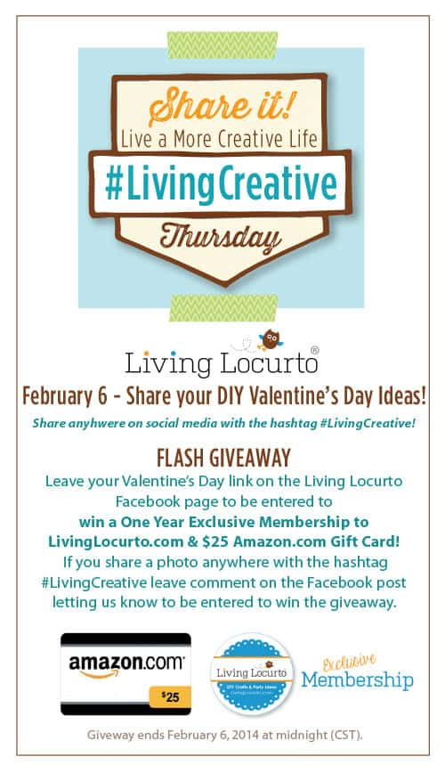 Share Your Valentines Day Party and Craft Ideas for Living Creative Thursday at LivingLocurto.com for a chance to win prizes in a giveaway! #LivingCreative