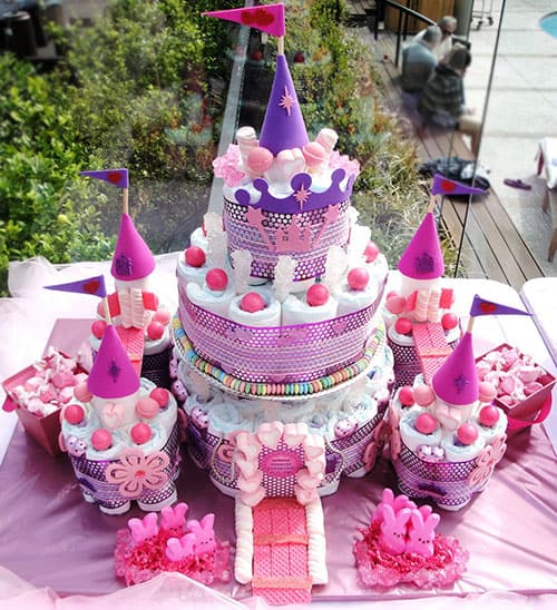 Pink Princess Castle Diaper Cake 15 Creative Cakes Amazing Baby Shower Party Ideas