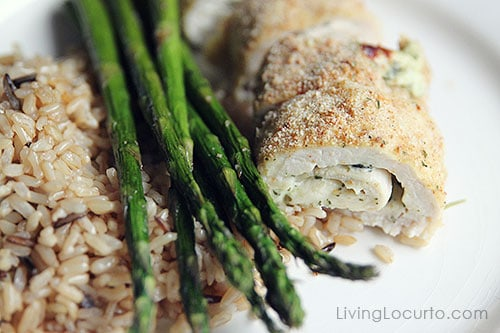 Oven Baked Chicken Pesto Rolls Recipe with roasted asparagus and rice. Simple family dinner idea!