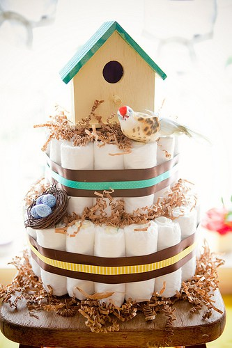 Bird house diaper cake