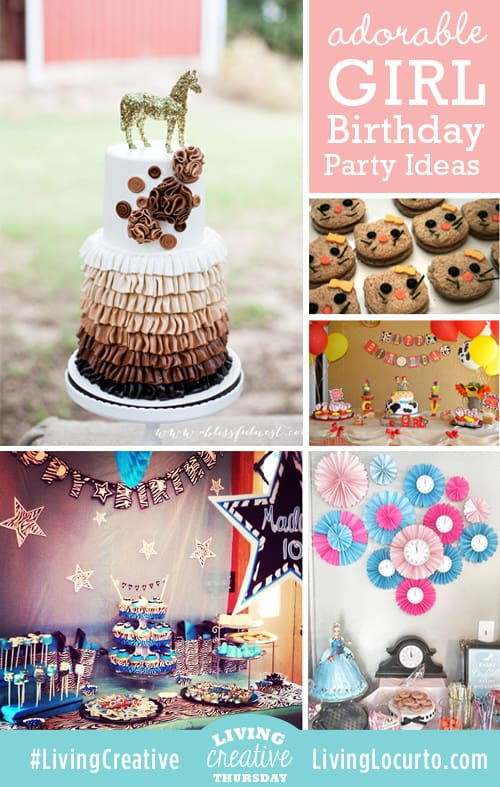 Adorable Girl Birthday Party Ideas shared for #LivingCreative Thursday on LivingLocurto.com