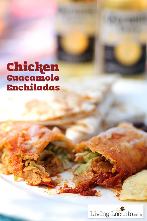 Easy Low Carb Chicken Guacamole Enchiladas! Recipe at LivingLocurto.com
