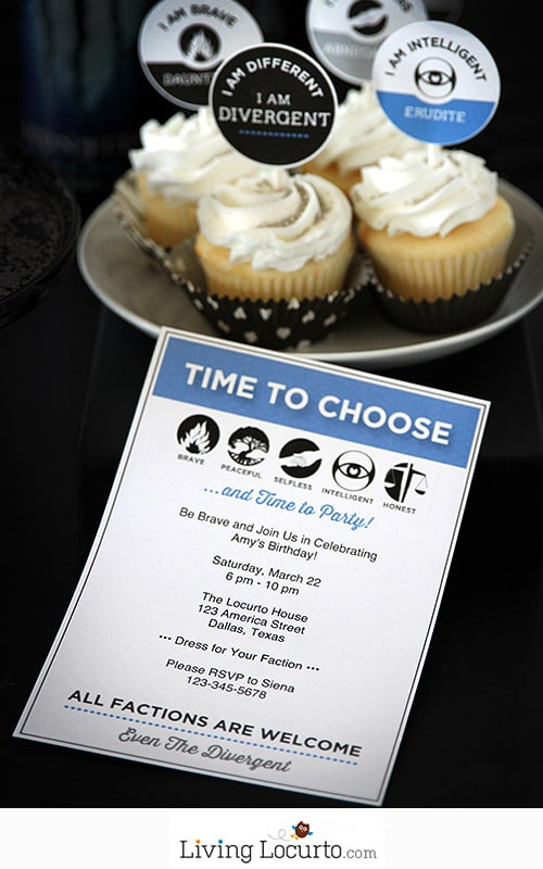Divergent Party Ideas with Free Printable Invitation. LivingLocurto.com