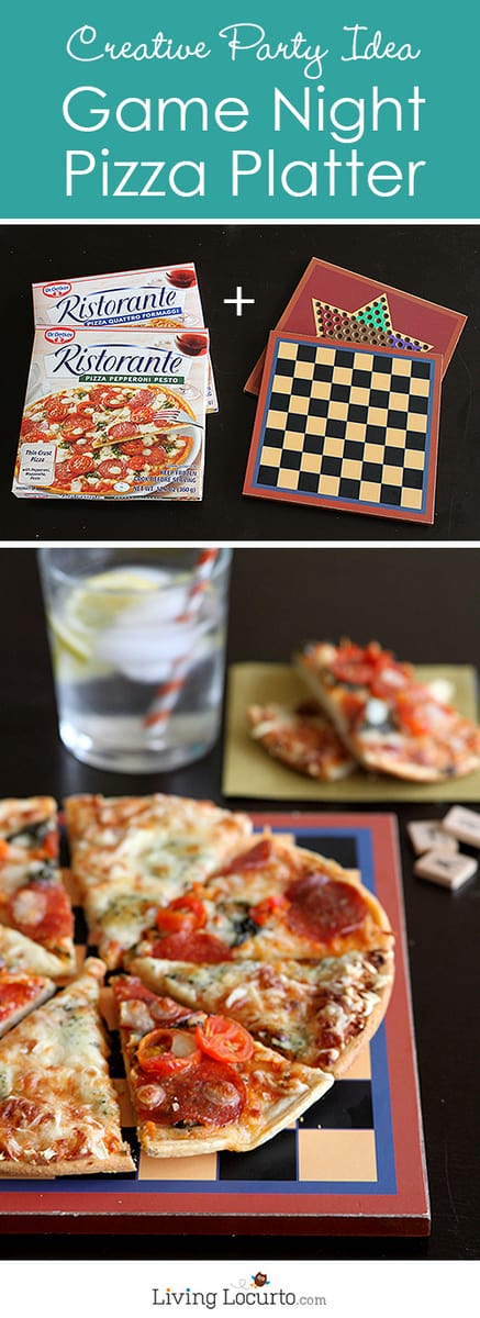 Game Night Pizza Platter Idea - A creative DIY party table display with very little effort! LivingLocurto.com