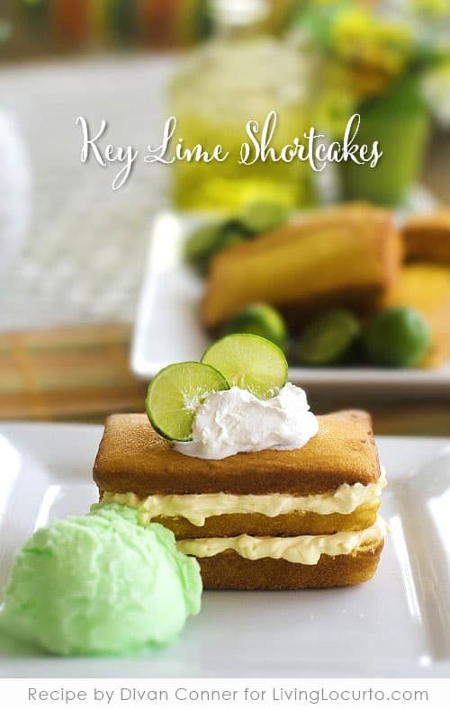 An easy recipe for key lime shortcake. Pound cake with lime flavored cheesecake filling, whipped cream and sherbet makes an amazing no-bake dessert.