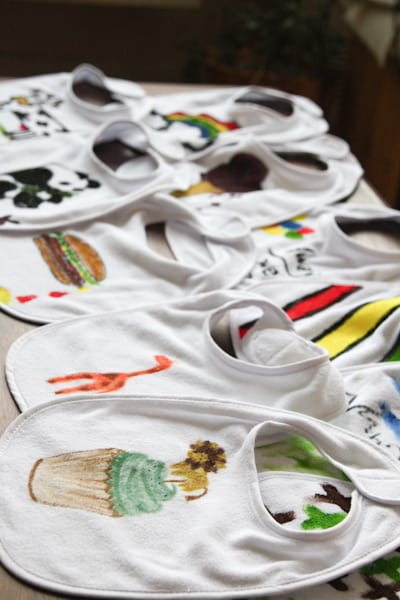 Baby Onesie Decorating Craft - 8 Fun Baby Shower Crafts and Party Activities. Alternatives to baby shower games.