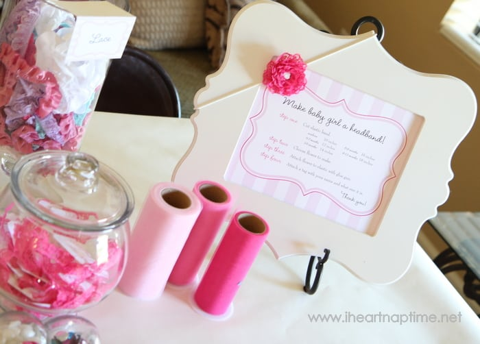 Hair Bow Station - 8 Fun Baby Shower Crafts and Party Activities.