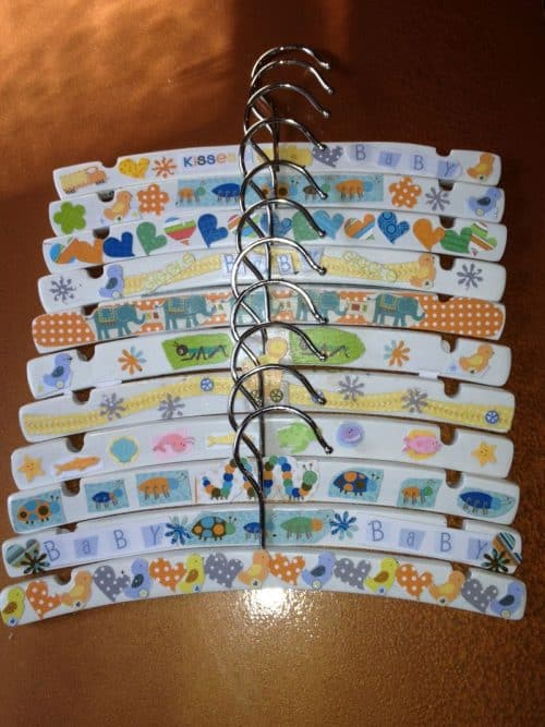 Decorate Baby Hangers - 8 Fun Baby Shower Crafts and Party Activities. Alternatives to baby shower games.