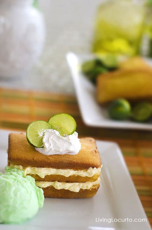 Key lime shortcake. Pound cake with lime flavored cheesecake filling, whipped cream and sherbet makes an amazing no-bake dessert.