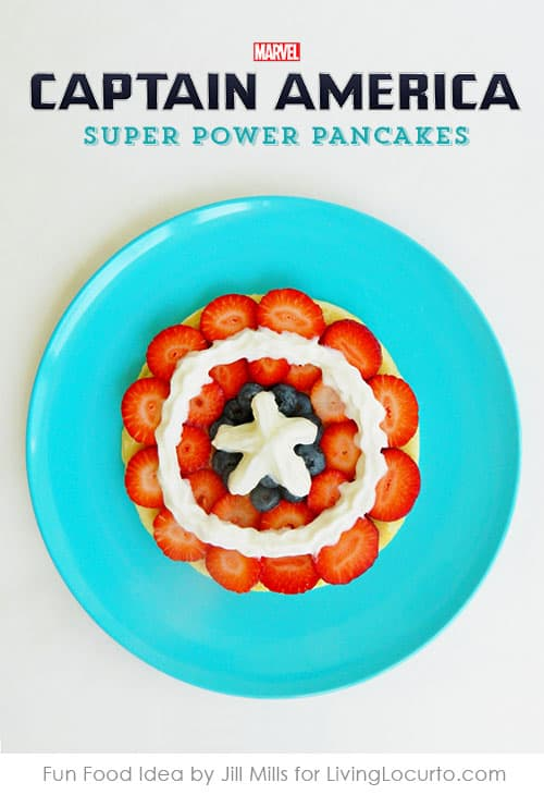 Captain America Pancakes make breakfast SUPER fun! Feel the power with this easy recipe for Captain America's shield made out of fruit. A perfect quick breakfast for kids or a make your own pancake station at an Avenger party.