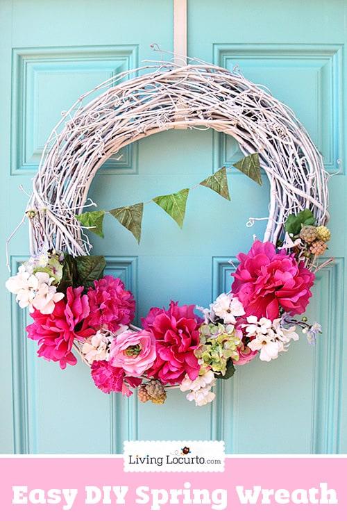 Easy DIY Spring Wreath Craft Tutorial at LivingLocurto.com