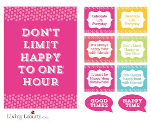 Happy Hour FREE Party Printables by LivingLocurto.com