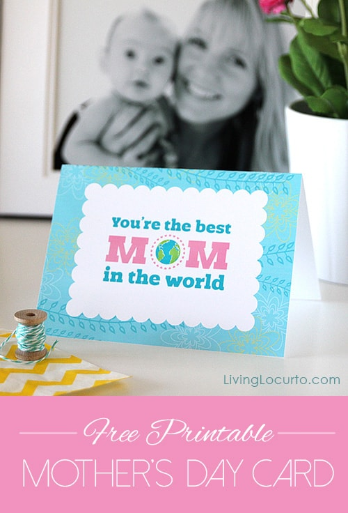 Enjoy a Free Printable Mother's Day Card for a mom on Mother's Day or any time of the year! Best mom in the world quick and easy card to print.