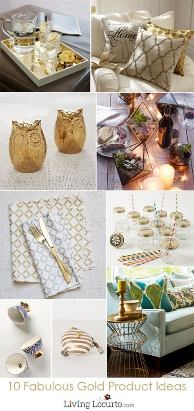 10 Gold Product Ideas for Entertaining & Home