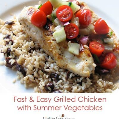Grilled Chicken with Mint and Summer Vegetables