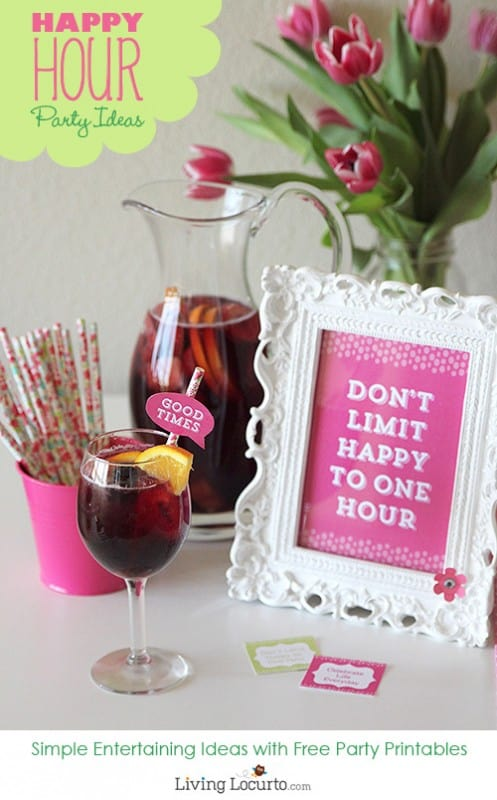 Fun Happy Hour Party Ideas. Call some friends and have a girl's day or night out with these simple Happy Hour Party Ideas and Free Printable Decorations!