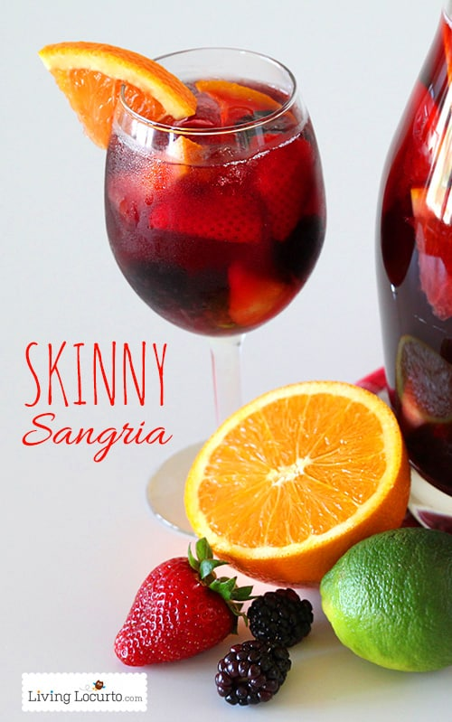 Delicious and Easy Skinny Sangria Recipe! The perfect low calorie party drink. Easy cocktail recipe with low sugar. LivingLocurto.com