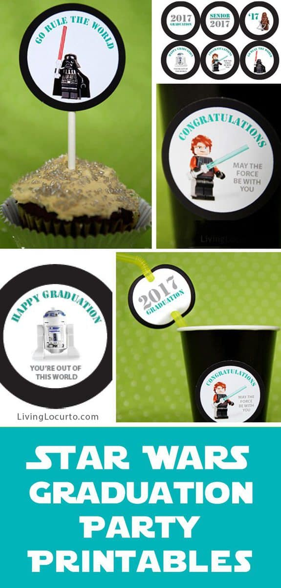 Cute tags for a Star Wars Graduation Party. Whether hosting a preschool or high school graduation party, these printables are fun conversation pieces!