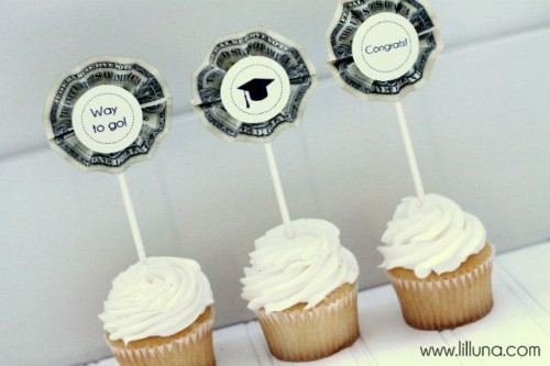 Graduation Party DIY Money Cupcake Toppers and free printables by Lil' Luna.