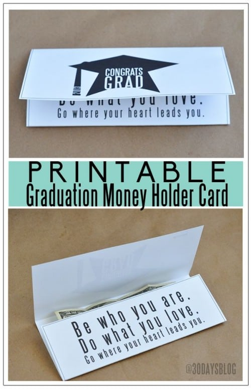 Free Printable Graduation Money Card Holder by 30 Days Blog