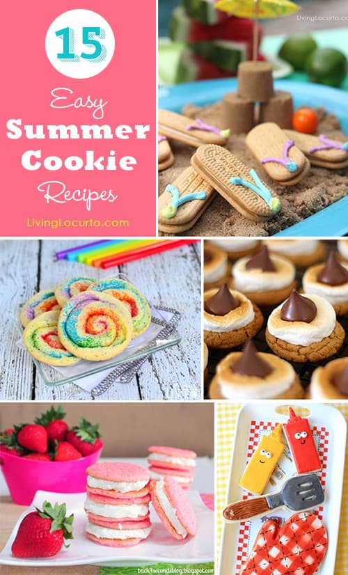 15 Easy Summer Cookie Recipe Ideas. Cute dessert food to keep cool at a picnic, bbq, beach or pool party. Fun food for summer parties.