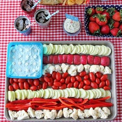 American Flag Vegetable Tray