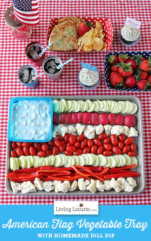 Easy American Flag Vegetable Tray Platter and Dill Dip Recipe. Easy low carb appetizer for a 4th of July party.