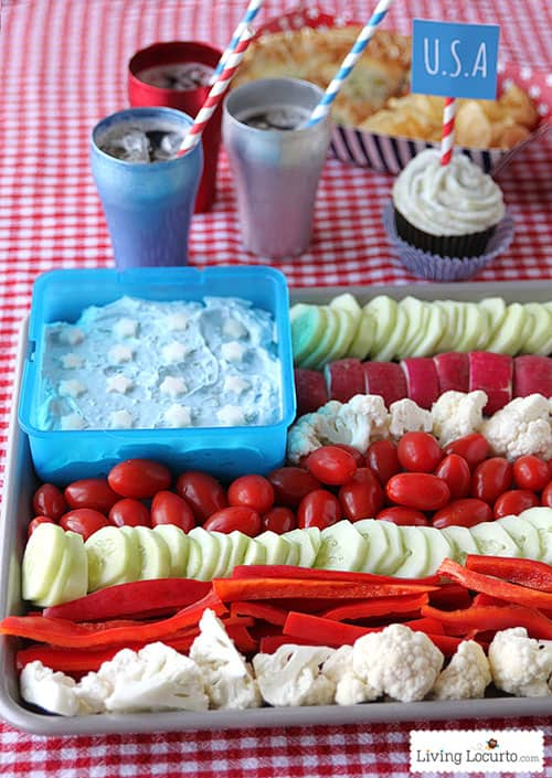 red white blue veggie tray snack healthy