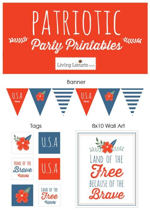 4th of July Patriotic Party Printables. LivingLocurto.com