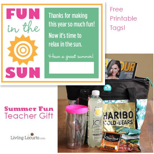 Teacher Gift Idea - Summer Fun Tote Bag with Free Printable Tags. LivingLocurto.com