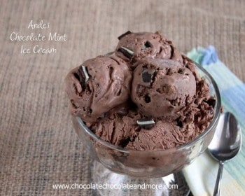 Andes Chocolate Mint Ice Cream-created using Andes Mints! Recipe by Chocolate Chocolate and More
