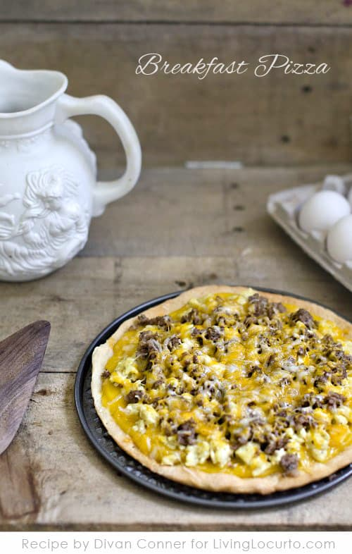 Easy Cheesy Egg Breakfast Pizza Recipe. LivingLocurto.com
