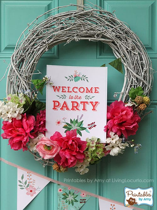 Tangerine and Green Floral Party Printables Collection by Amy Locurto.